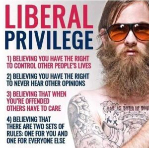 """Meme stating """"Liberal Privilege: 1. Believing you have the right to control other people's lives. 2. Believing you have the right to never hear other opinions. 3. Believing that when you're offended others have to care. 4. Believing that there are two sets of rules: one for you and one for everyone else."""""""